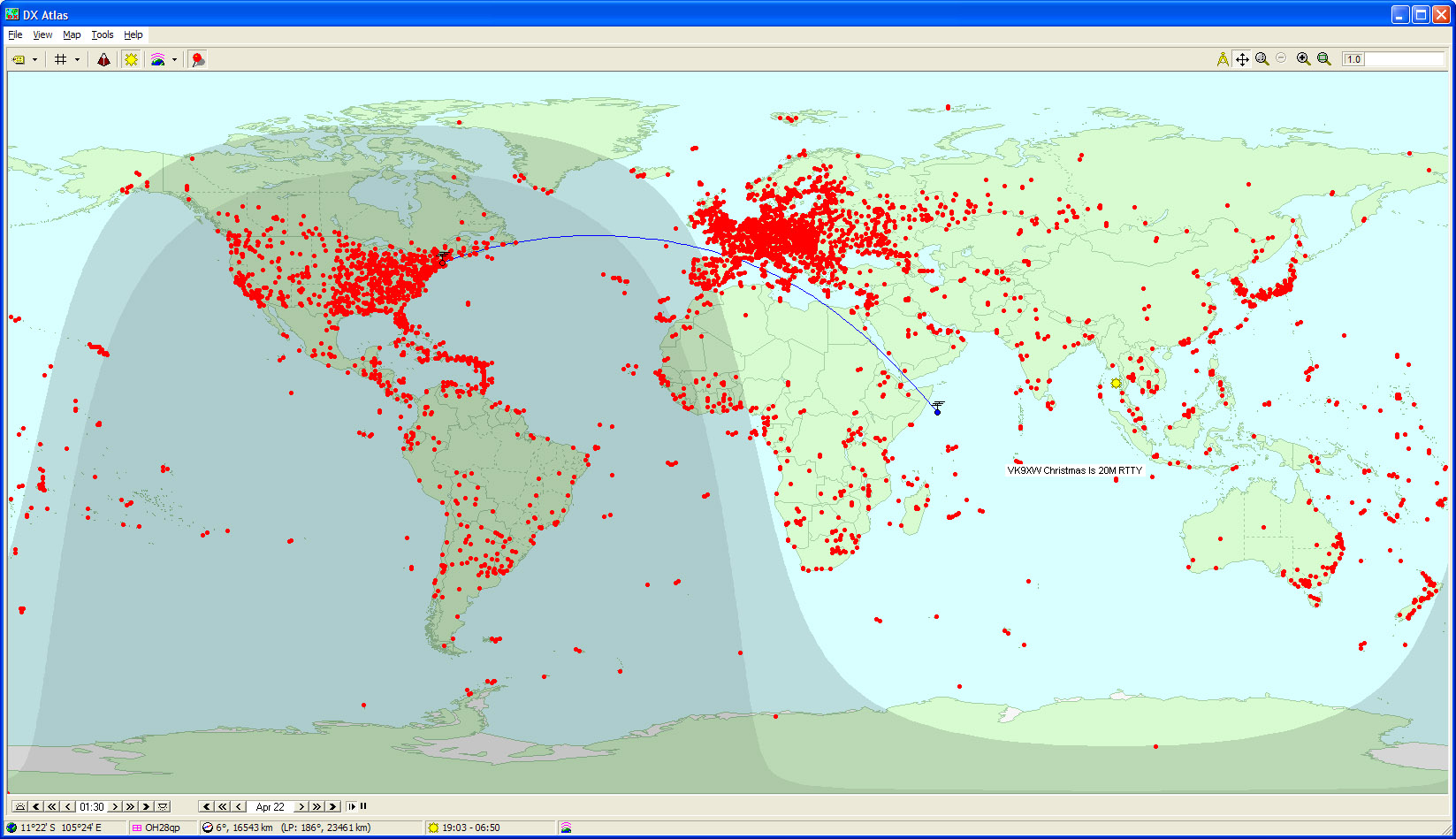 Personal qso maps placing the mouse cursor near a plotted qso on either map produces a popup display showing the qsos callsign dxcc entity band mode and grid square gumiabroncs Choice Image
